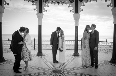 Bride and Groom with their Parents, Brighton Bandstand, Sussex