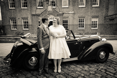 Couple with Classic Car, Portsmouth Register Office, Hampshire